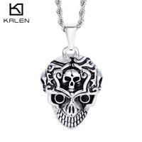 Wholesale jewelry fashion animal skull head pendant for men punk style