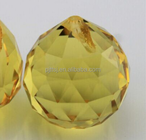 Golden yellow crystal ball 30 mm40mm golden lighting Crystal bead curtain hanging pendant wholesale wedding diy