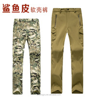 shark skin look men waterproof fleeced skiing climbing pants/ mark yji high end outdoor camping thermal trousers/soft shell
