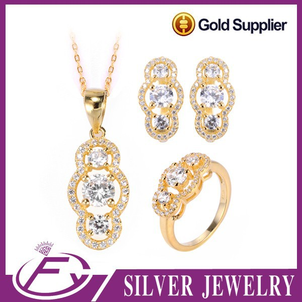 Elegant design shine cubic zircon stone strong setting fine silver 24kt gold jewelry