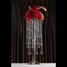 Tall Glass Wedding Centerpieces Hanging Crystal Drops Decoration For Flowers