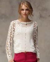 2014 women sexy beautiful latest lace fashion formal blouses
