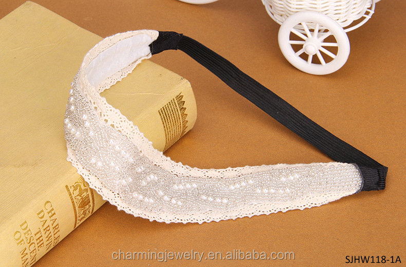 wide lace stretch pearl headband elastic hair bands with bead
