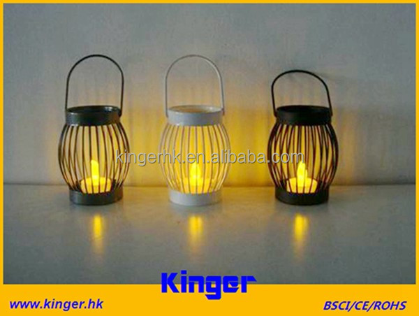 Small Size Black White Painted Metal Tealight Lanterns with LED Candle