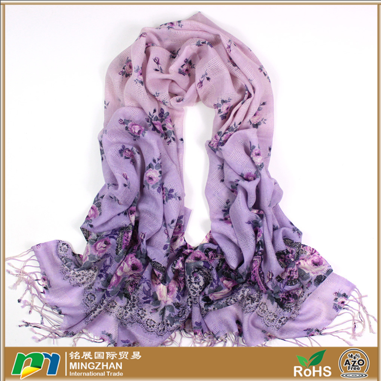 Women's 100% merino wool unique italian custom scarves with floral print tassel ombre scarf