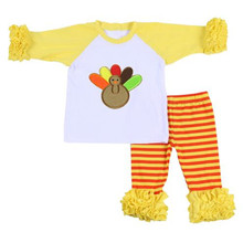 Knit cotton baby clothes fall children Turkey outfit wholesale boutique toddler girl Thanksgiving clothing