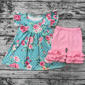 wholesale flower printing flutter top icing ruffle short pants baby girl outfit