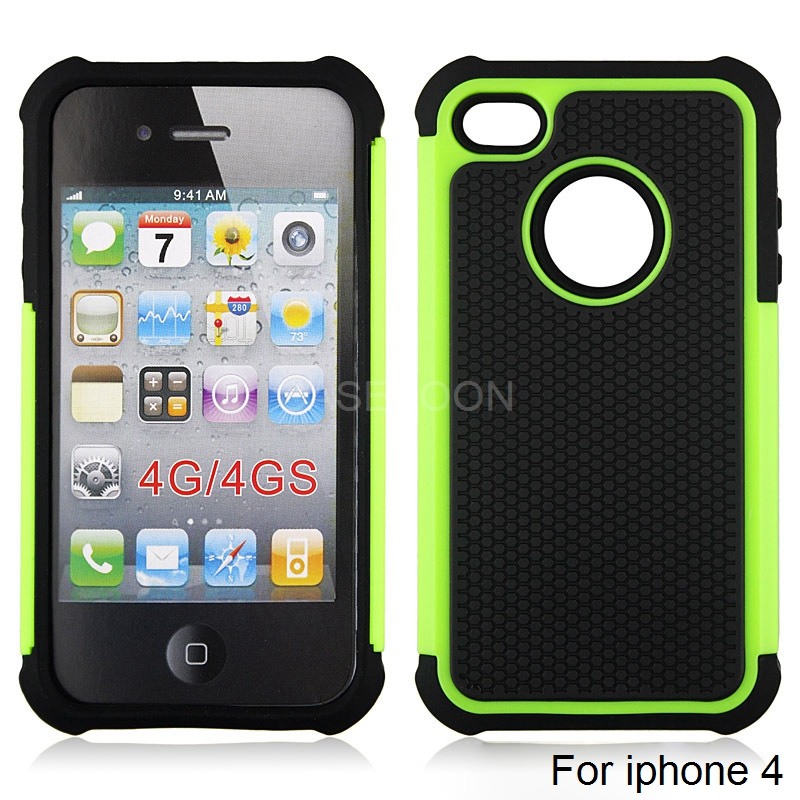 Bright green mini football dot design combo case for iphone 4 4gs,for iphone 4s cell phone case