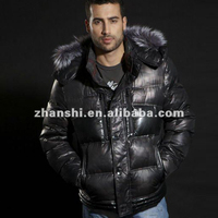 Winter Designer Fashion Black Men's Quilted Coats Goose Down Leather Jacket