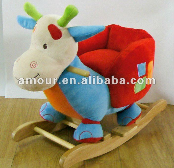 cute colorful baby ride on cow chair stuffed kids rocking chair with wooden base new toys for christmas 2013 good quality