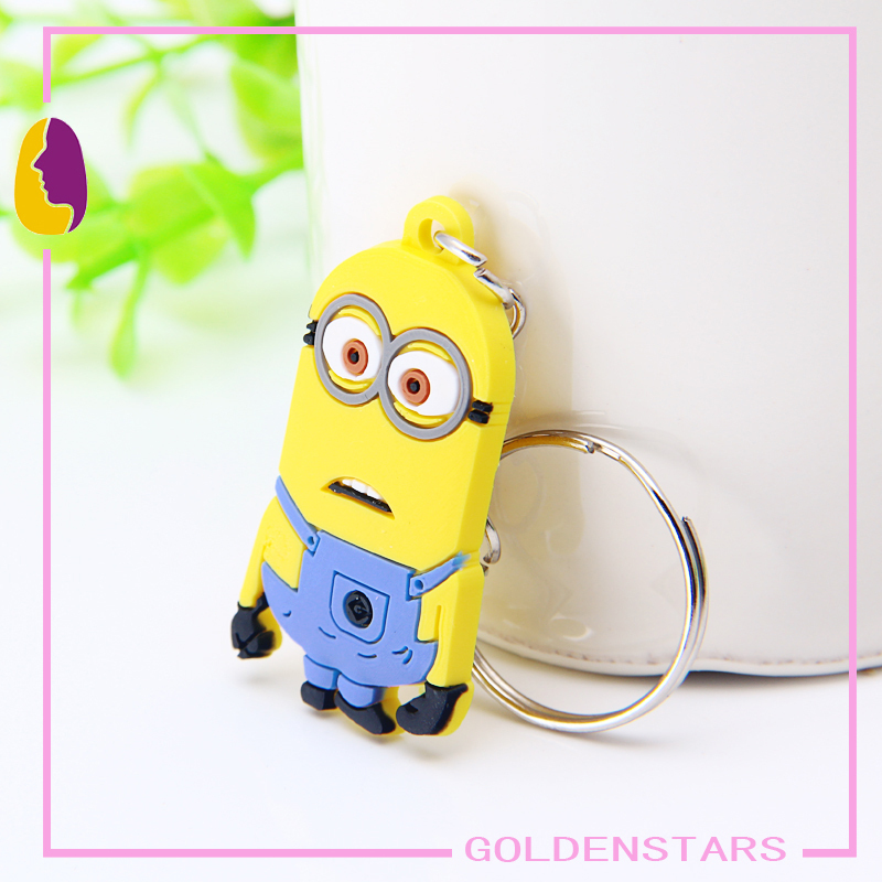 2015 New Hot Sale Despicable me 2 Keychains Soft PVC rubber Keyrings Minion Toy Key Golders Promotion Gift