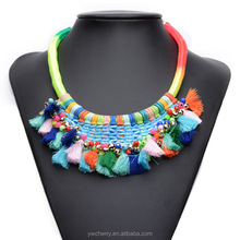Fashion colored rope tassel handcraft necklace women costume jewelry