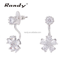 Online Korean Fashion Ear Jacket Earrings Stud Front Back Earring Flower