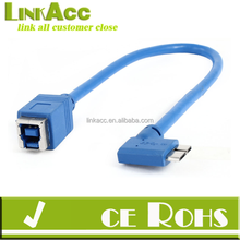 PC USB 3.0 Type B Female to Micro B Male Right Angle Connector Cable Blue 32cm