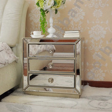 3 drawers bedroom antique venetian mirrored bedside table