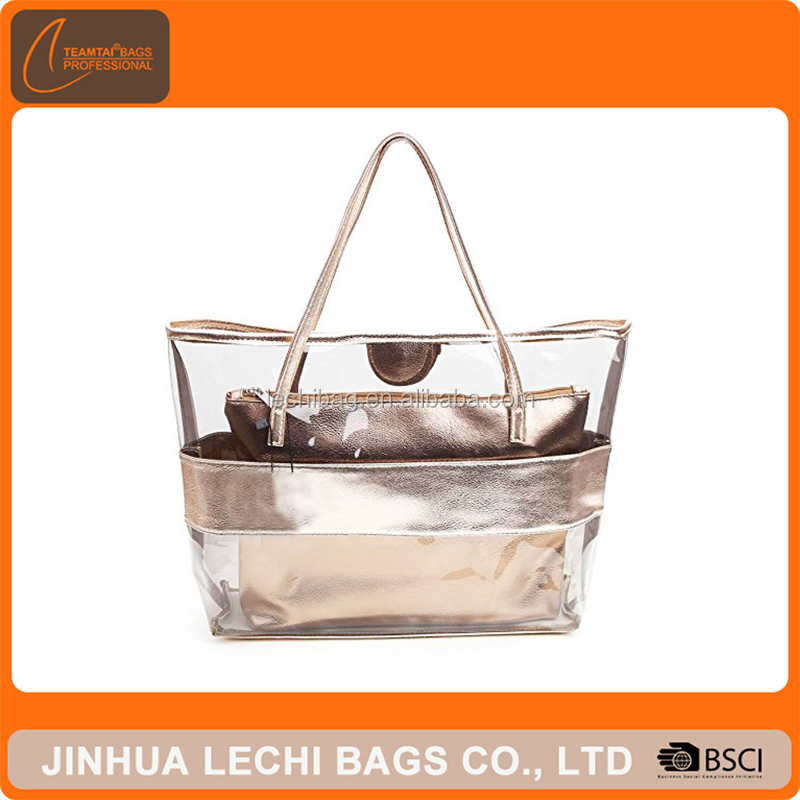 Waterproof Semi-clear Tote Bags Stripe PVC Beach Shoulder Bag with Small Cosmetic bag PVC Large Work Tote Purse