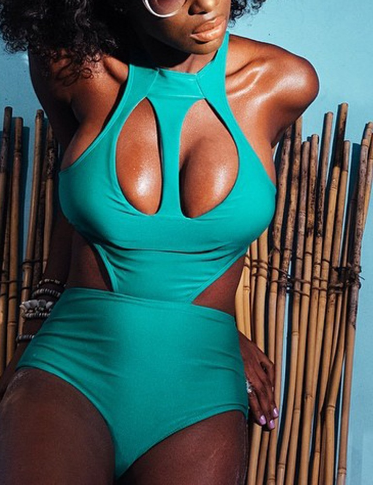 2017 High Quality Fashion Green One Piece Plus Size Swimwear Wholesale Swimwear