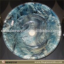 Tempered glass vessel with mountain pattern
