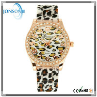 Vogue geneva silicone alloy metal gold plated customized beige leopard quartz watch