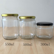 Wide mouth 300ml 500ml clear glass etumax royal honey jars with metal lid