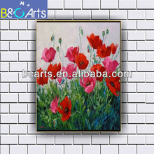 Handpainted Modern Abstract Flower Decorative Oil Painting, High Quality Canvas Red Flower Paint for Home Decoration OEM