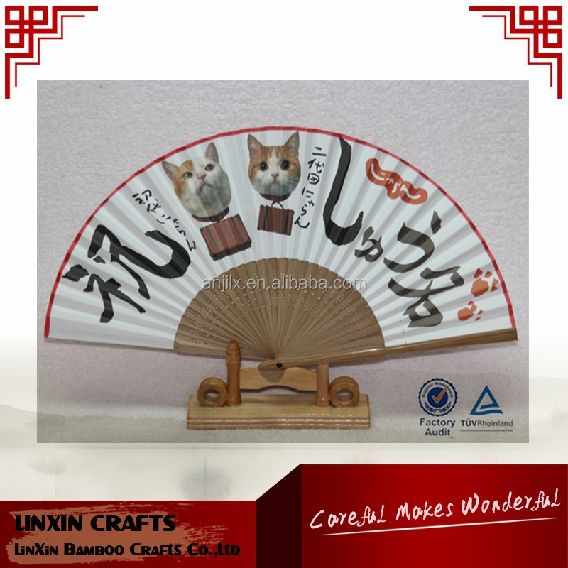 Folding and natural bamboo color bamboo hand fan with customized printing