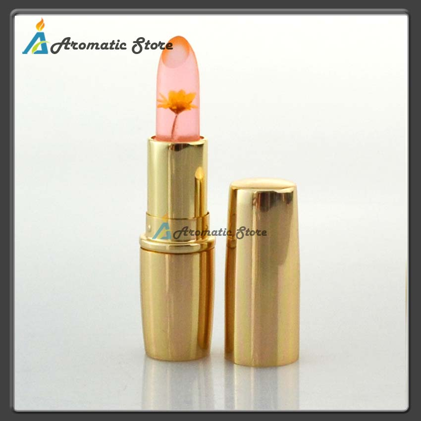 Natural healthy lipstick temperature change color with flower