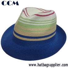 Hottest Striped Paper Braid Children Straw Fedora Hat