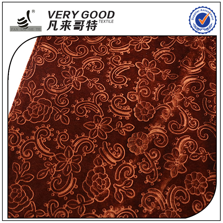 100 polyester material embossed warp knit stretch velvet fabric