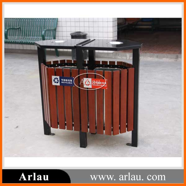 High quality Outdoor double wooden trash bin rubbish bin for sale