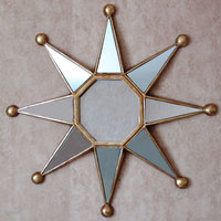 China hotselling cosmetic mirror interior decoration items decorative mirror home decor sun shape wall mirror unique star shaped