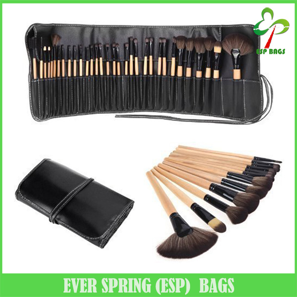 23 Slots functional portable makeup brush case with small pouch, practical pu leather belt cosmetic brush cases