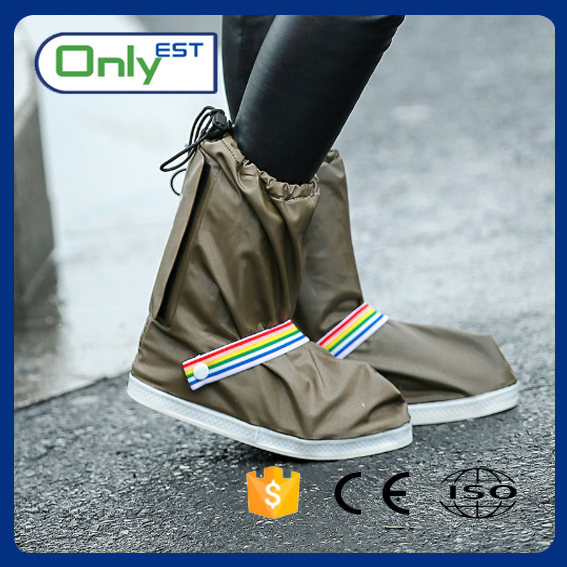 Women's waterproof new design flat heeled printed rain shoes cover