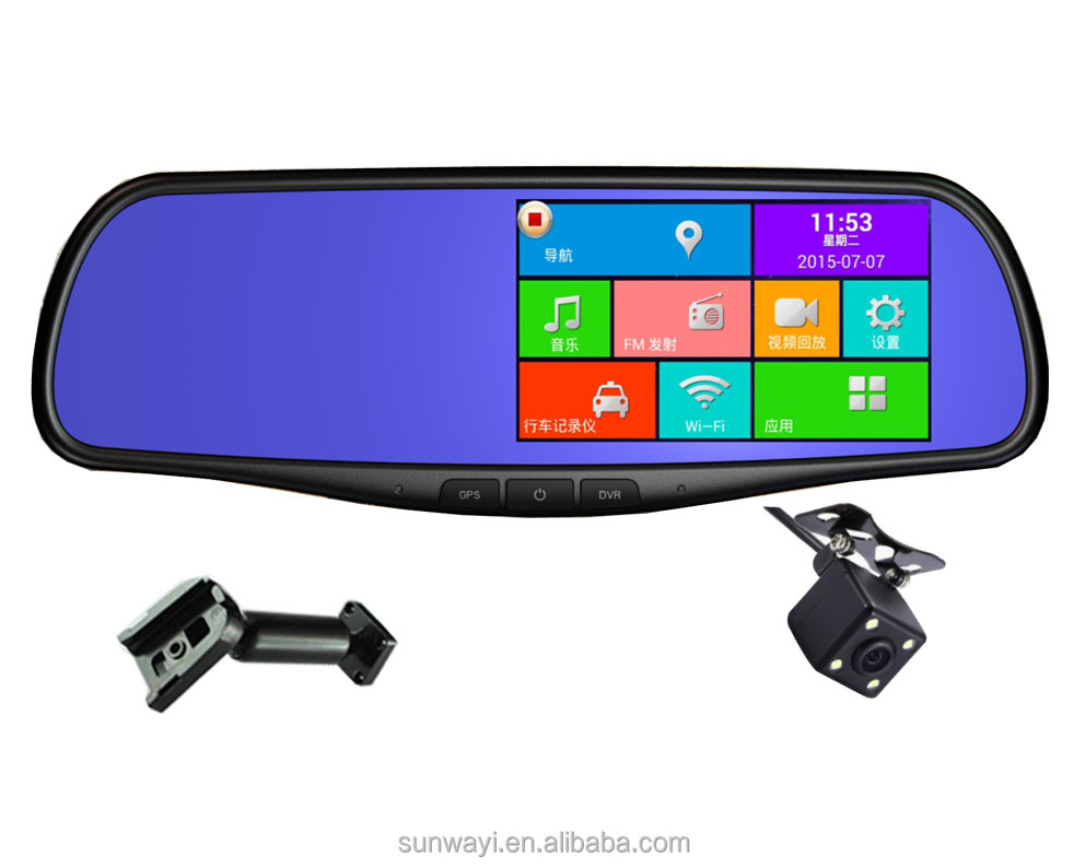 5inch full HD 1080p car dual camera rearview mirror DVR recorder with wifi and GPS navigation