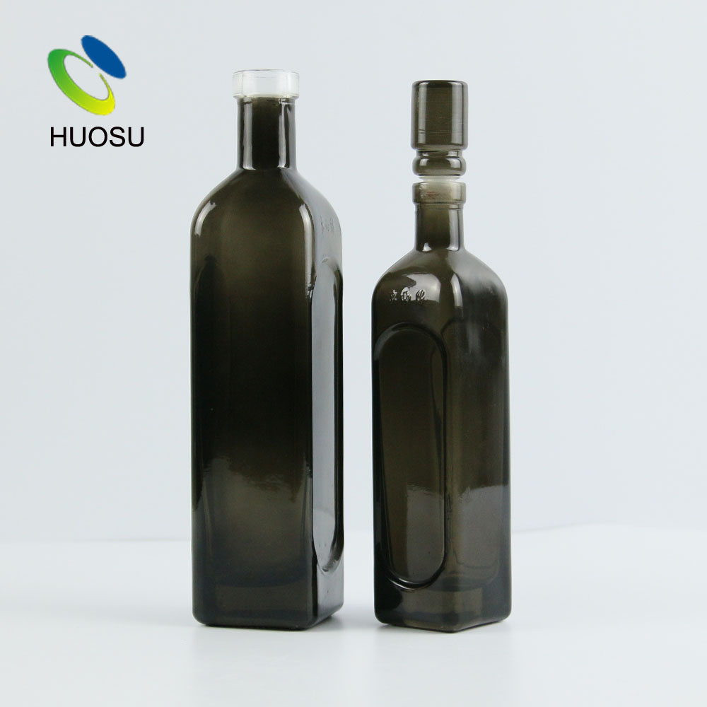 dark green black olive oil bottle 500ml glass container with cork stopper best designer high quality square straight jar