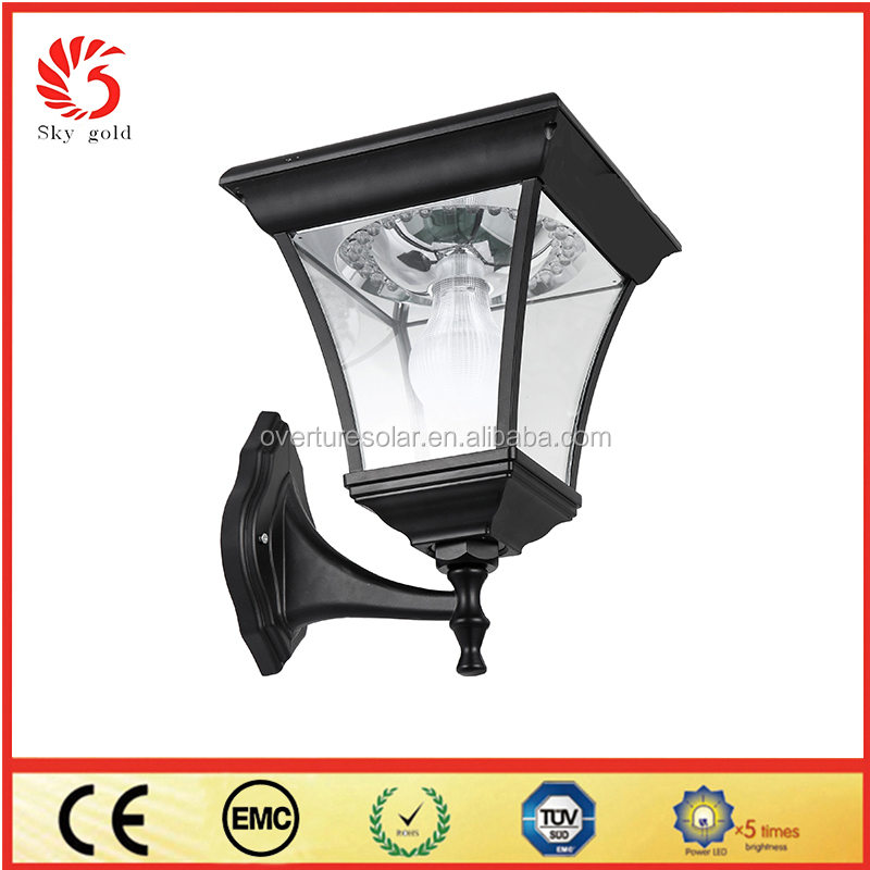Exterior wireless aluminum modern garden wall lamp motion sensor solar wall lamp