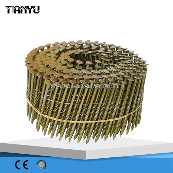 2015 good quality 15 Degree Galvanize Roofing collated Coil Nail, coil nail making machine