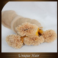 Hot fusion U shape tipped human hair extensions
