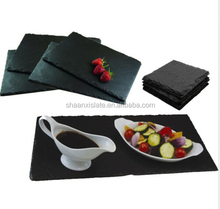 Rectangle Slate PLACEMAT black Natural Slate Rough Cut Padded Foam Feet
