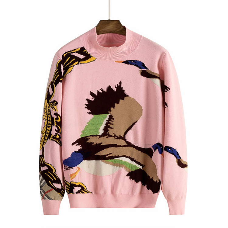 Custom Logo Jacquard Intarsia Wild Goose Fashion Design Knit Women Pullover Sweater