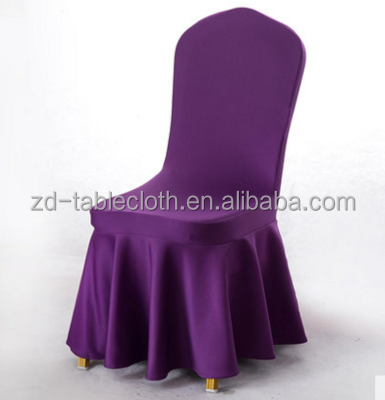 wholesale banquet design dustproof spandex pleated skirt chair cover