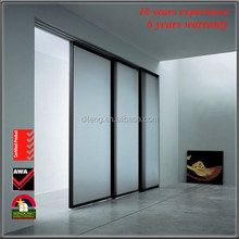 3 panel or 4 panel sliding door interior glass sliding doorswith tempered glass