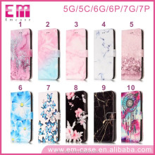 Marble phone PU leather flip case for iphone5 6 6p 7 7p phone cover