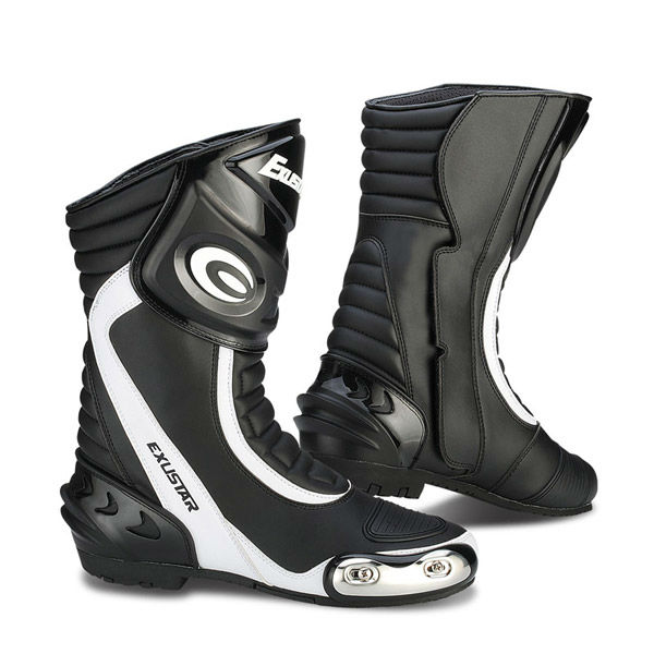 Multi-use, motorcycle racing black/white boots