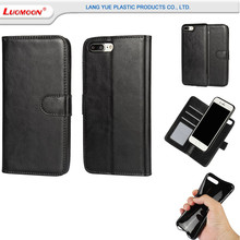 Hot sale removable leather wallet cell phone case for iphone 6 6s 7 8 plus x two cell phone case with credit card holder
