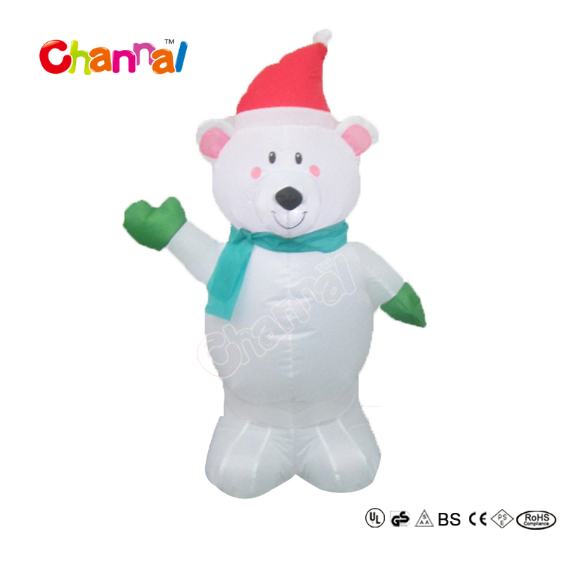 100% Polyester Funny Christmas Inflatable Polar Bear For Holiday Decorations