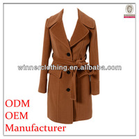 best price long wool russian winter coat with napoleon collar and belt