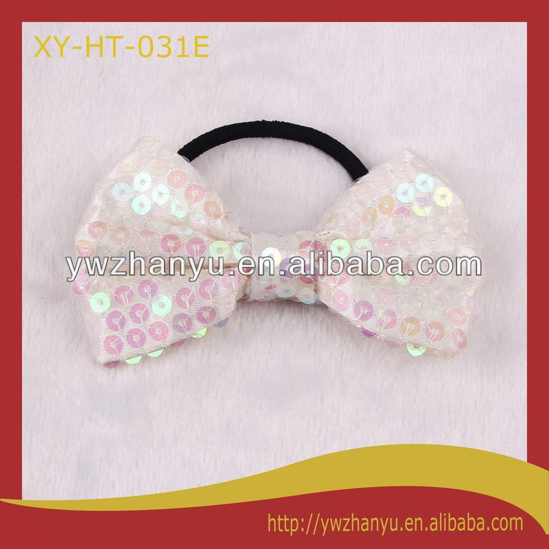fashion sparkle elastic large bow hairband sequin hair tie