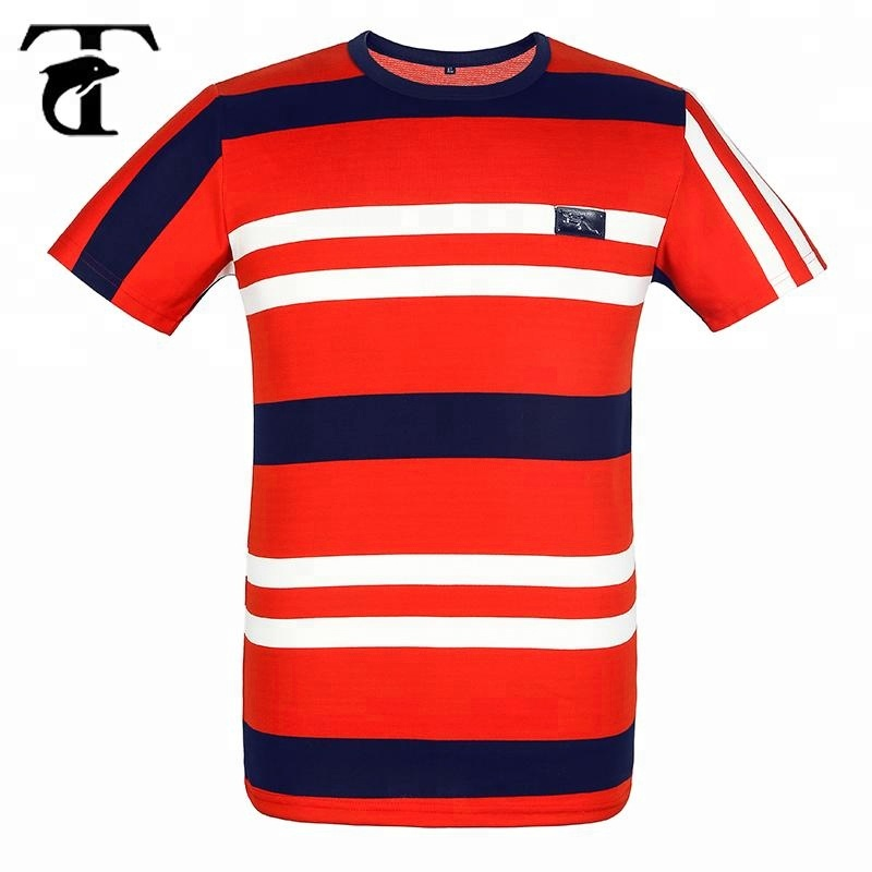 Wholesale Men's Black White Red Striped 100% cotton <strong>t</strong> <strong>shirt</strong> For Men