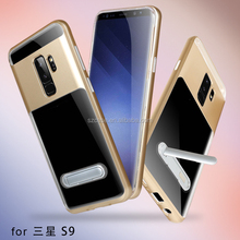 New Design Magnetic Stand Transparent Clear TPU PC 2in1 Shockproof Mobile Phone Back Cover for Samsung Galaxy S9 / S9 Plus